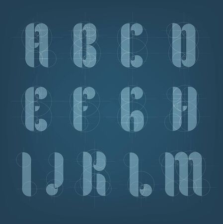 architectural drawing: Architectural drawing plane alphabet. Engineer drawn typeface