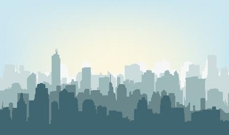 Rano sylweta miasta. Sylwetka miasta na wschodzie słońca Ilustracje wektorowe