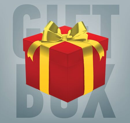 satined: Vector gift box with a ribbon bow. Realistic present box. Illustration