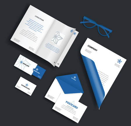 Corporate identity template. Vector company style for brand book and guideline. Envelope, business card, glasses, postcard and blank sheet.