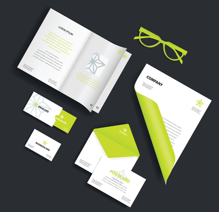 guideline: Corporate identity template. Vector company style for brand book and guideline. Envelope, business card, glasses, postcard and blank sheet.