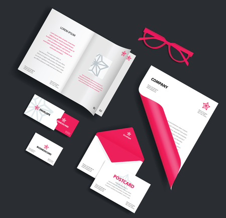style sheet: Corporate identity template. Vector company style for brand book and guideline. Envelope, business card, glasses, postcard and blank sheet.