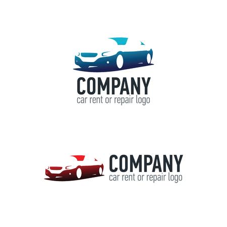 Car rent or repair service label. 矢量图像