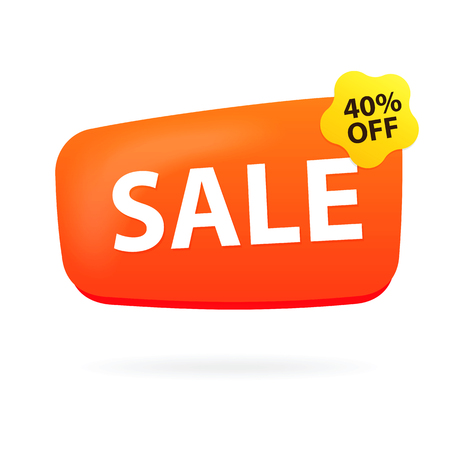 Discount sign with forty percent offer.