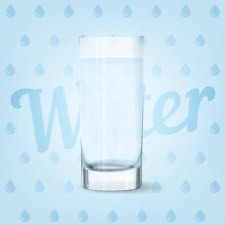 Vector image of fresh cool glass of water