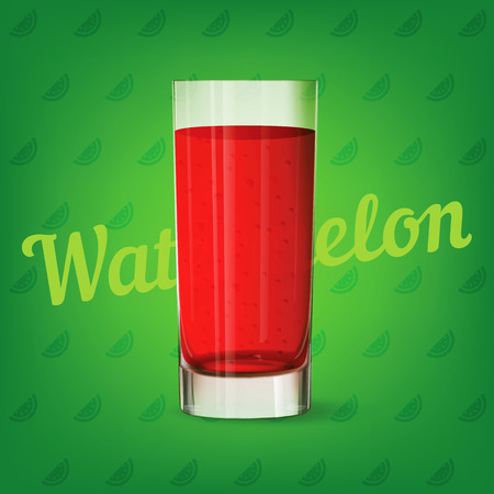 Vector image of fresh red glass of watermelon juice