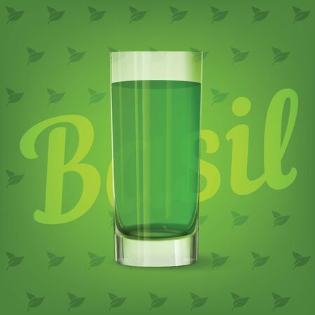 Vector image of fresh fruit green glass of basil juice