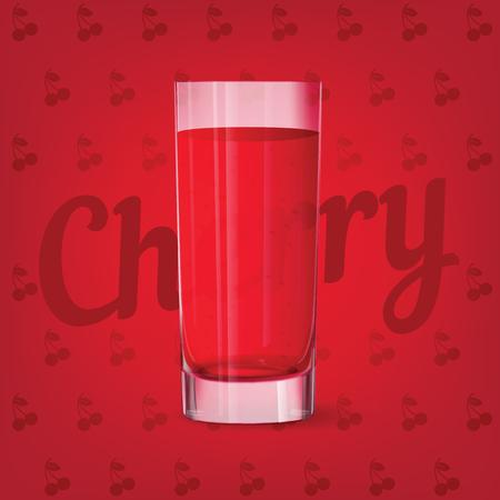 Vector image of fresh glass of cherry juice
