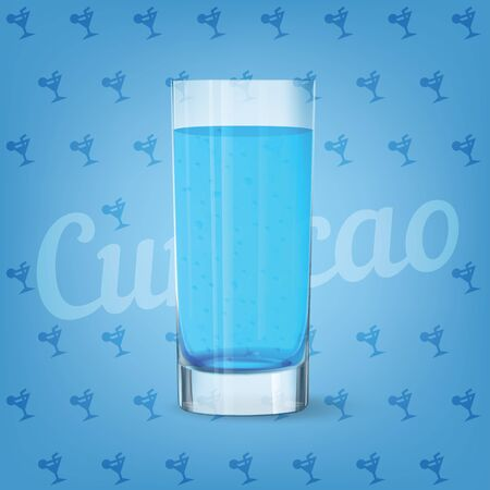 Vector image of fresh cool glass of curacao 矢量图像