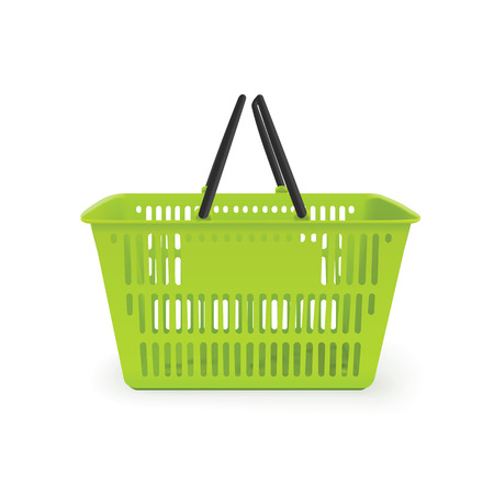 Realistic isolated shopping basket. 矢量图像