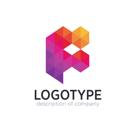 Abstract trend polygon letter F logo design template. 矢量图像