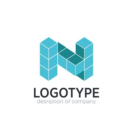 Letter N cube figure logo icon design template elements 矢量图像
