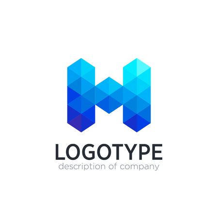 Abstract trend polygon letter H logo design template.