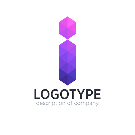 Abstract trend polygon letter I logo design template.