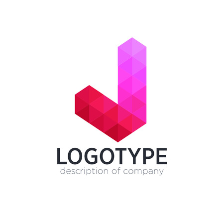 Abstract trend polygon letter J logo design template.