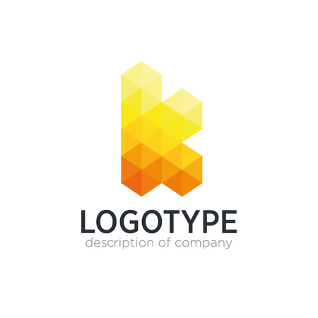 Abstract trend polygon letter K logo design template.