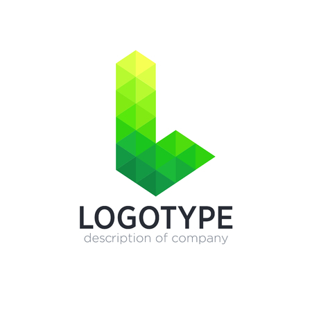 Abstract trend polygon letter L logo design template.