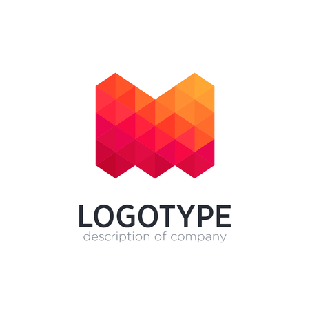 Abstract trend polygon letter M logo design template. 矢量图像