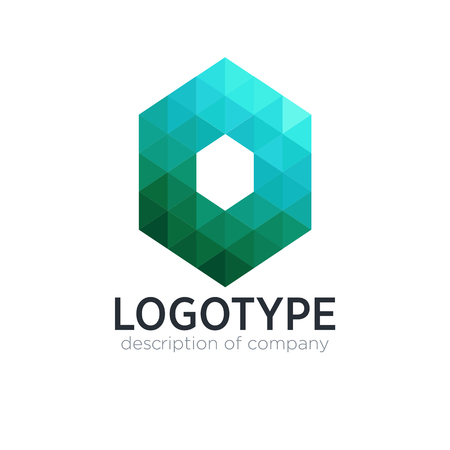 Abstract trend polygon letter O logo design template. 矢量图像