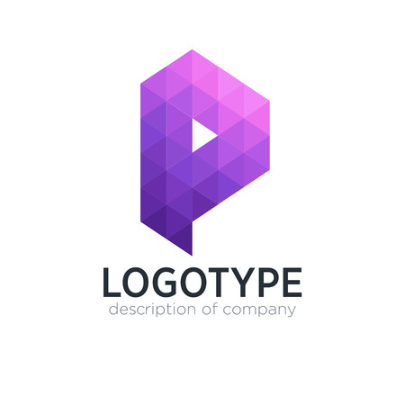 Abstract trend polygon letter P logo design template. 矢量图像