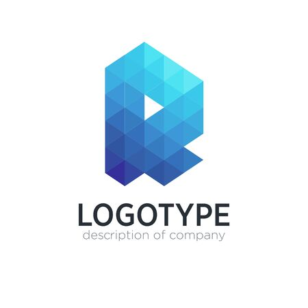 Abstract trend polygon letter R logo design template.
