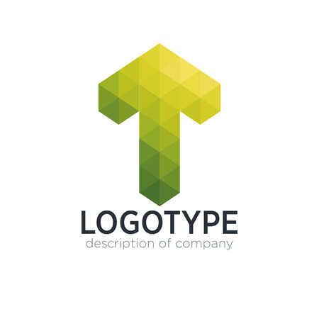 Abstract trend polygon letter T logo design template.