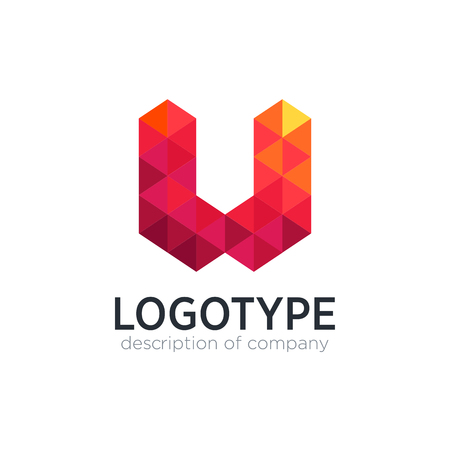 Abstract trend polygon letter U logo design template.