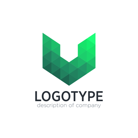 Abstract trend polygon letter V logo design template.