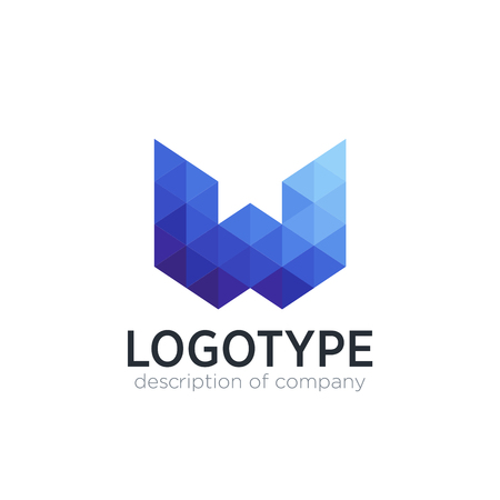 Abstract trend polygon letter W logo design template. 矢量图像