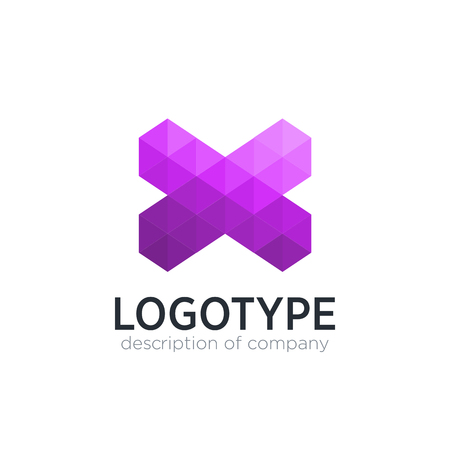 Abstract trend polygon letter X logo design template.