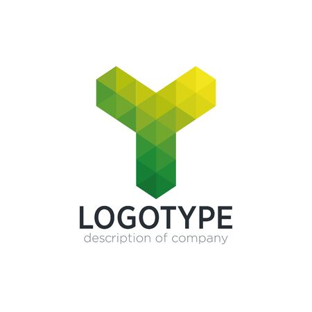 Abstract trend polygon letter Y logo design template.