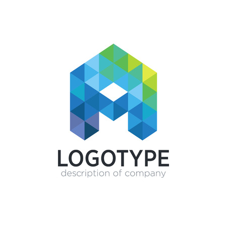 Abstract trend polygon letter A logo design template.