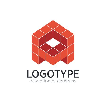 Letter A cube figure logo icon design template elements