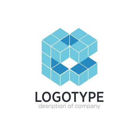 Letter E cube figure logo icon design template elements