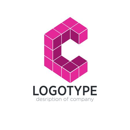Letter C cube figure logo icon design template elements