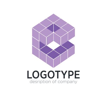 Letter B cube figure logo icon design template elements