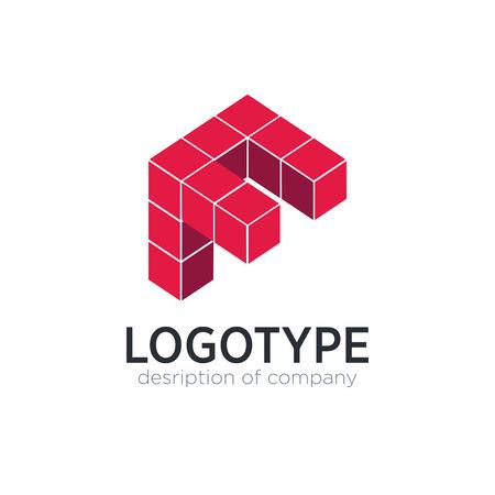 Letter F cube figure logo icon design template elements 矢量图像