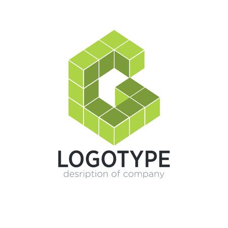 Letter G cube figure logo icon design template elements 矢量图像