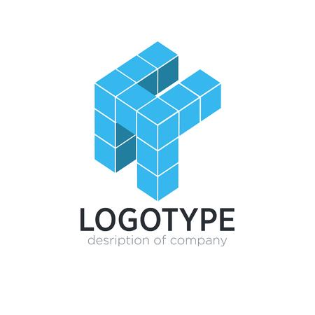 Letter H cube figure logo icon design template elements