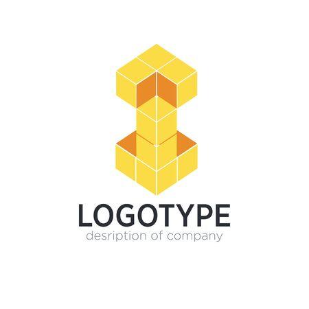 Letter I cube figure logo icon design template elements 矢量图像