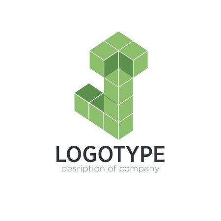 Letter J cube figure logo icon design template elements 矢量图像
