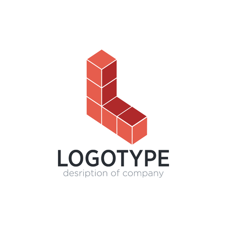 Letter L cube figure logo icon design template elements 矢量图像
