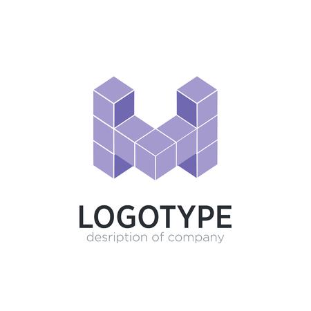 Letter M cube figure logo icon design template elements 矢量图像