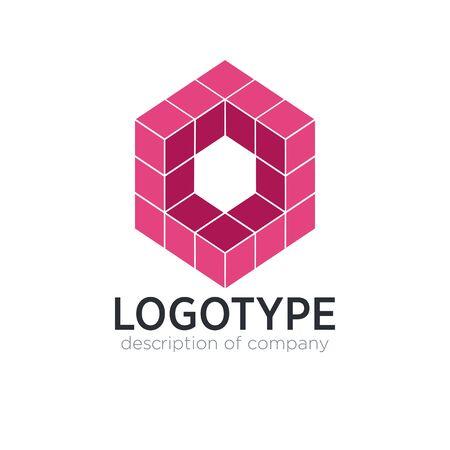 Letter O cube figure logo icon design template elements 矢量图像