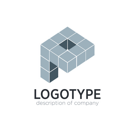 Letter P cube figure logo icon design template elements 矢量图像