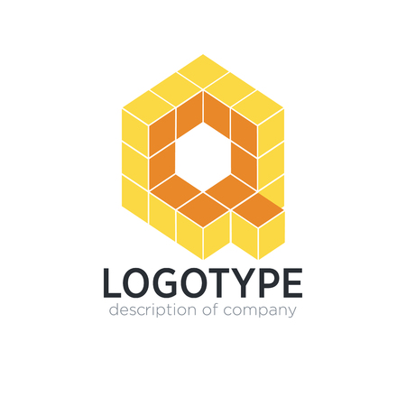 Letter Q cube figure logo icon design template elements