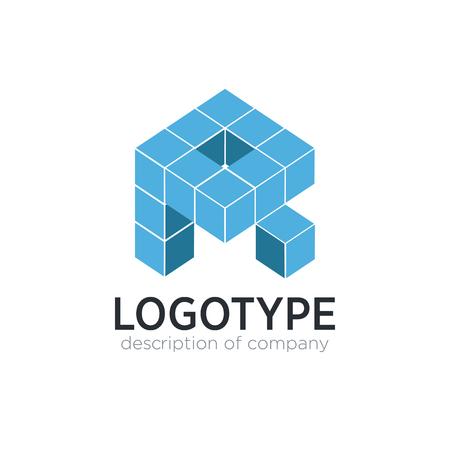 Letter R cube figure logo icon design template elements