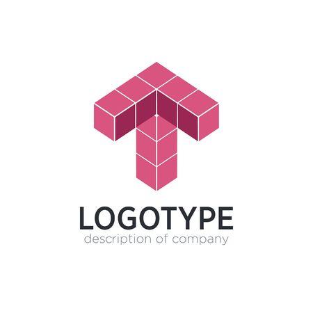 Letter T cube figure logo icon design template elements