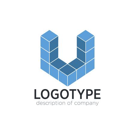 Letter U cube figure logo icon design template elements