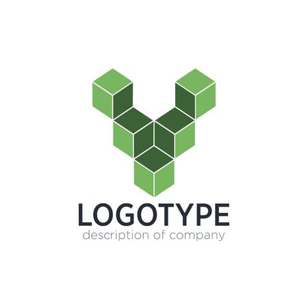 Letter V cube figure logo icon design template elements